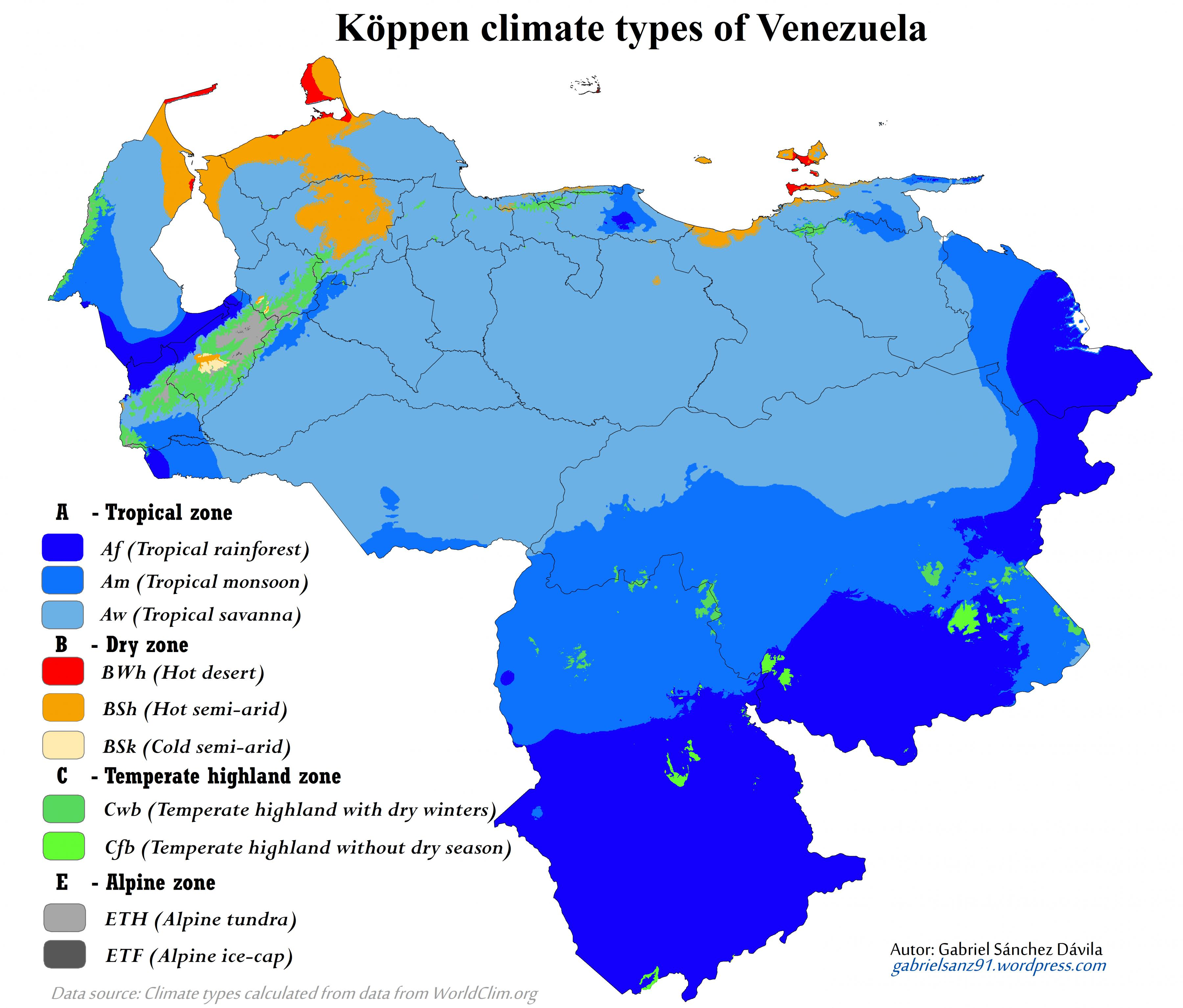 Venezuela climate map - Map of venezuela climate (South ... on map of saint lucia highlands, peru highlands, map of guiana highlands, map of latin america and its landforms, map of argentina with lakes labeled, map of red sea highlands, map of scotland highlands,