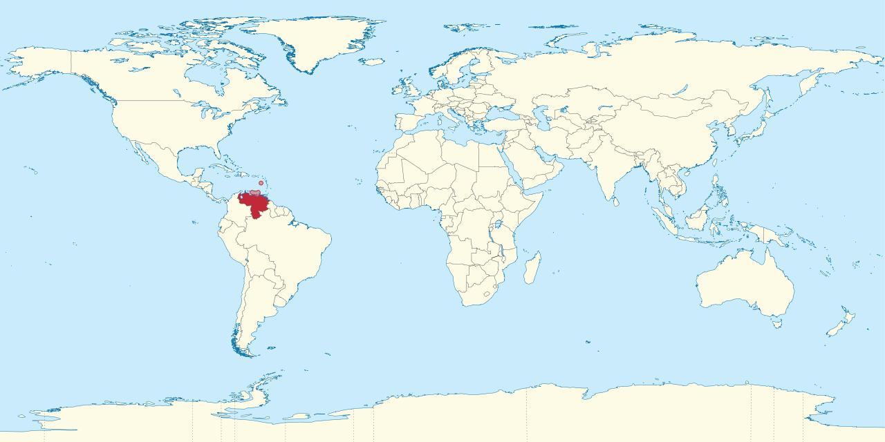 Venezuela on world map - Venezuela on map of the world ...