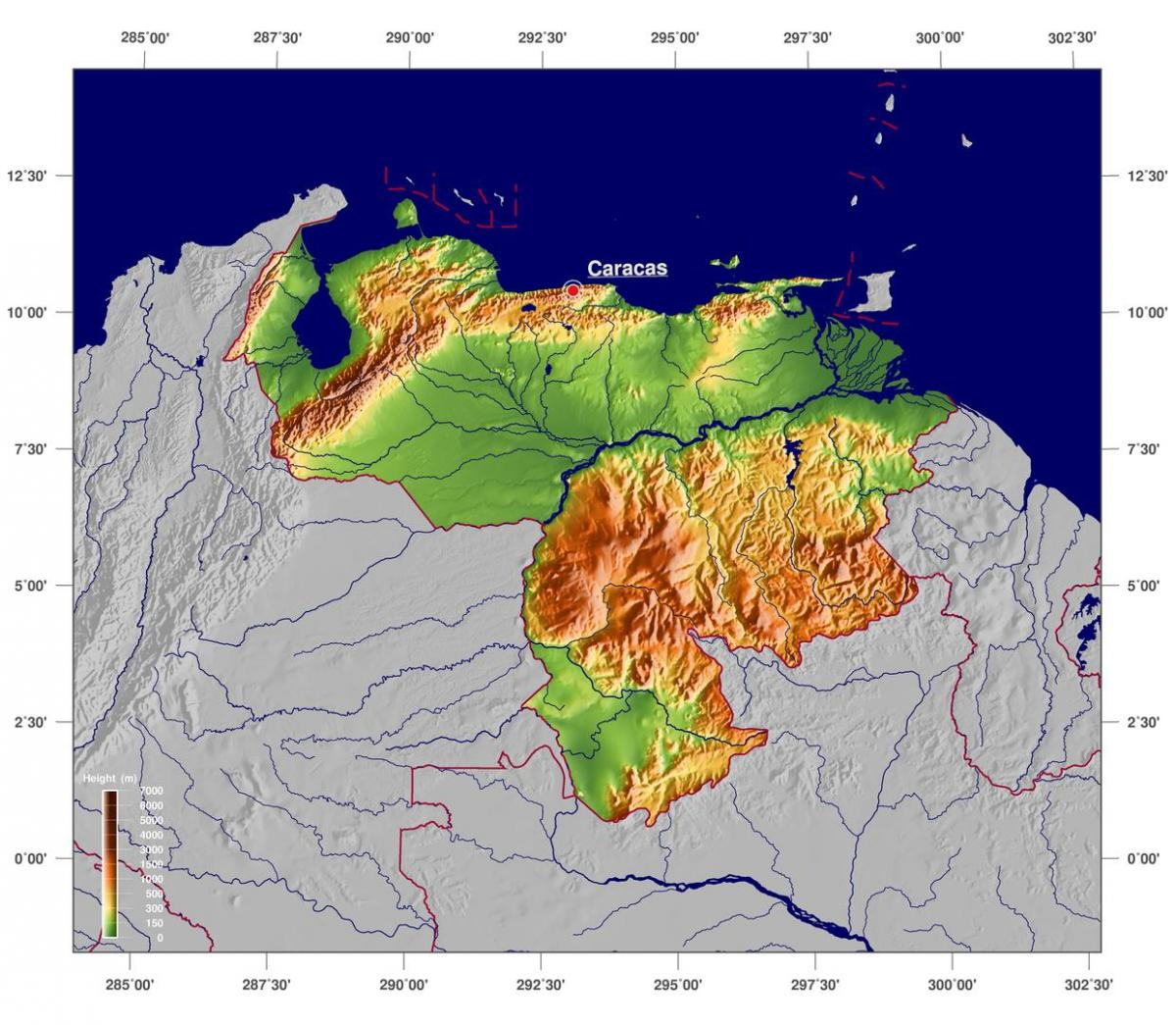 map of physical map of venezuela