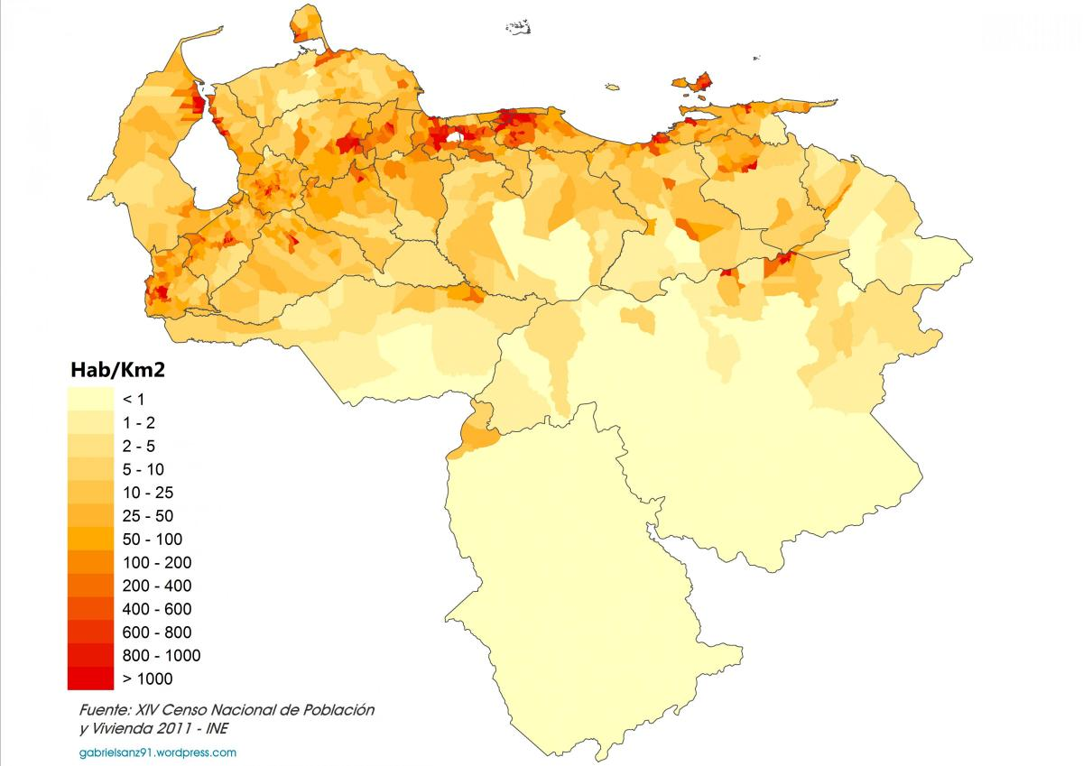 venezuela population density map
