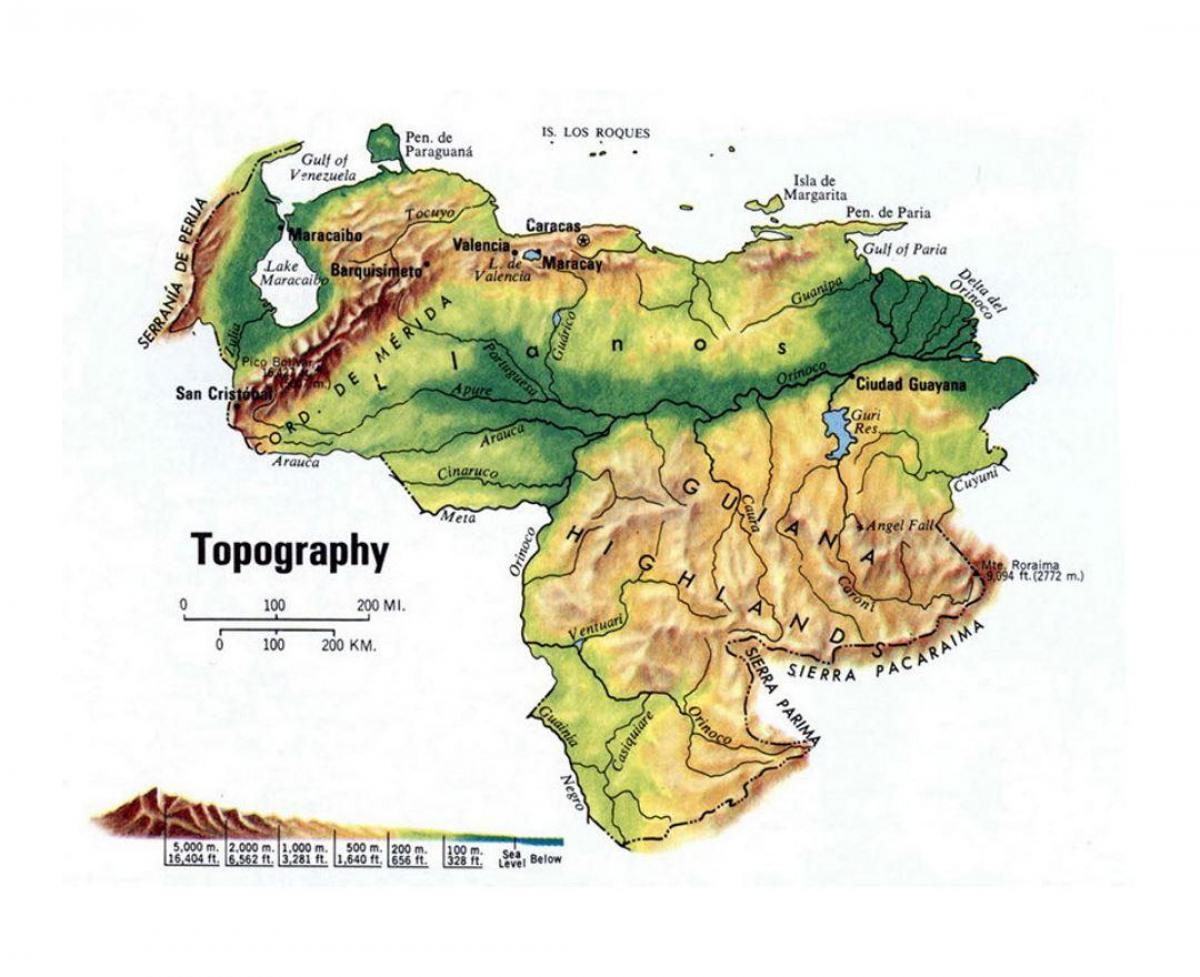 map of venezuela topographic